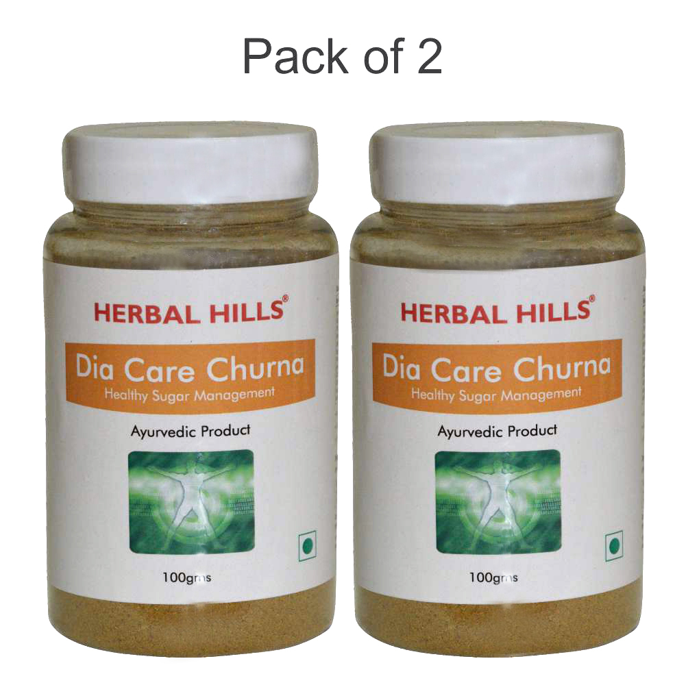 Herbal Hills Dia Care Churna - 100 gms (Pack of 2) Natural Sugar control Ayurvedic Churan Diacare (with Madhunashini)