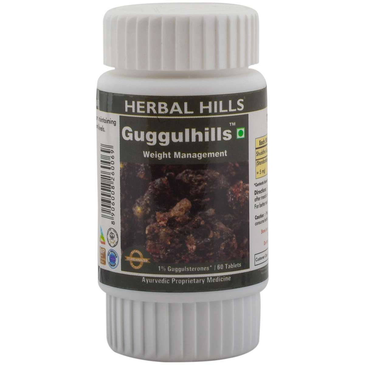 Herbal Hills Guggul 60 Tablets Ayurvedic Guggul (Commiphora mukul) 500 mg Gugglasterone extract in a tablet