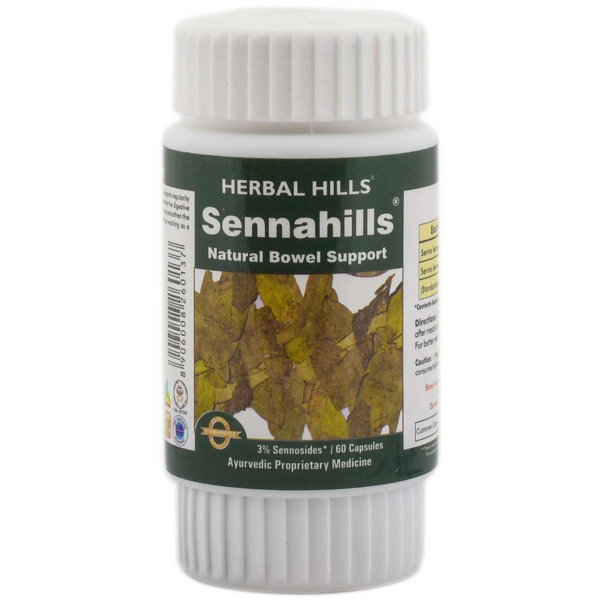 Herbal Hills Senna 60 Capsule Ayurvedic Senna Leaves (cassia angustifolia) 450 mg Powder and Extract blend in a capsule