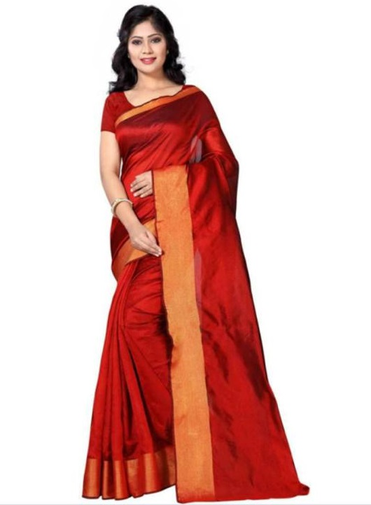 Synthetics Poly Cotton Casual Wear Striped Saree for Women